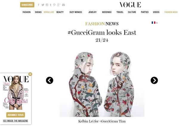 Mới đây, chàng stylist của xứ sở ngàn hoa tiếp tục mang về tin vui cho các tín đồ thời trang nước nhà khi xuất hiện trên tạp chí thời trang danh giá bậc nhất thế giới - Vogue phiên bản Paris. Hình ảnh ấn tượng của Kelbin tham gia chiến dịch Gucci Tian khiến mọi người không tiếc lời khen ngợi.