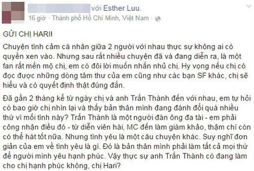 Một đoạn trong tâm thư của người hâm mộ gửi Hari Won trên trang cá nhân của mình. (Ảnh: Internet) - Tin sao Viet - Tin tuc sao Viet - Scandal sao Viet - Tin tuc cua Sao - Tin cua Sao