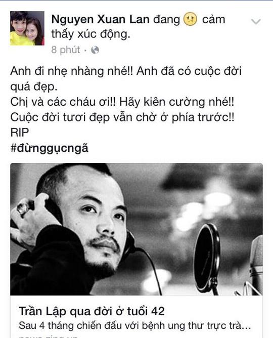 Xuân Lan cho biết cuộc đời Trần Lập đã thực sự quá đẹp và ý nghĩa bởi những đóng góp của anh cho nền âm nhạc Việt Nam. - Tin sao Viet - Tin tuc sao Viet - Scandal sao Viet - Tin tuc cua Sao - Tin cua Sao