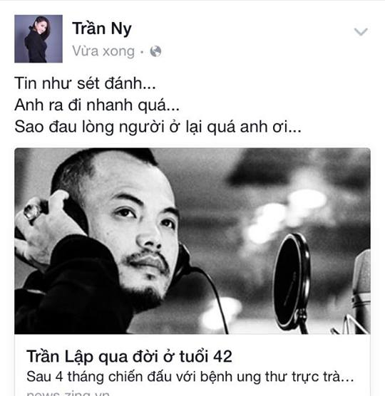 Sao Việt bàng hoàng trước thông tin Trần Lập qua đời - Tin sao Viet - Tin tuc sao Viet - Scandal sao Viet - Tin tuc cua Sao - Tin cua Sao