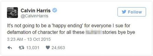 Calvin Harris điên tiết dọa kiện bất cứ ai tung tin thất thiệt về chuyện anh và Taylor. (Ảnh: Internet)