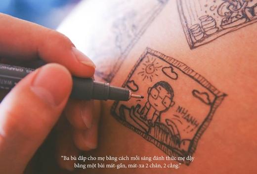"""""""..mỗi sang đánh thức mẹ dậy bằng một bài mát-gần, mát-xa 2 chân, 2 cẳng"""".(Ảnh: Caniegraphy)"""