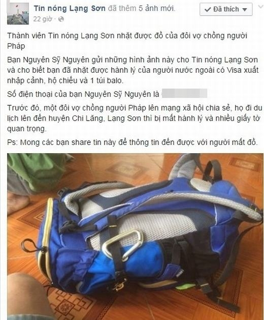 Thông tin tìm thấy chiếc ba lô được chia sẻ trên fanpage Lạng Sơn. Ảnh chụp màn hình.