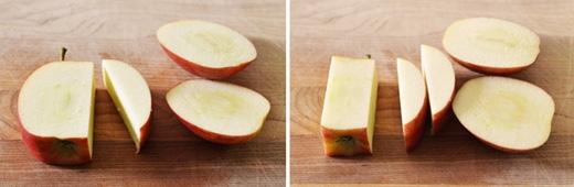 Úp mặt cắt của quả táo xuống rồi tiếp tục cắt 1/3 hai bên phần cơm táo, chừa lõi lại là xong. (Ảnh: Internet)