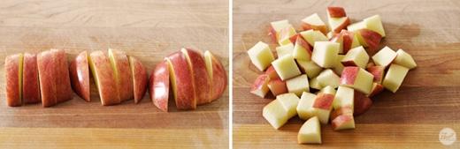 Những lát táo lớn bạn có thể cắt nhỏ vừa ăn, hoặc thái hạt lựu tùy mục đích sử dụng. (Ảnh: Internet)