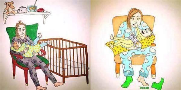 Vì con, mỗi đêm mẹ gần như thức trắng. (Ảnh: Internet)