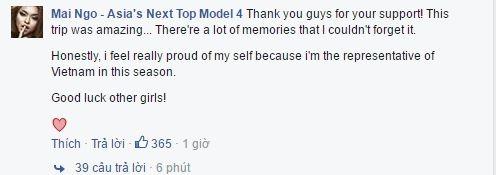 Quỳnh Mai vui vẻ cảmơn chương trình và chúc những cô gái còn lại may mắn. Cô không quên khẳngđịnh niềm tự hào khi làđại diện Việt Nam tại Asia's Next Top Model 2016.