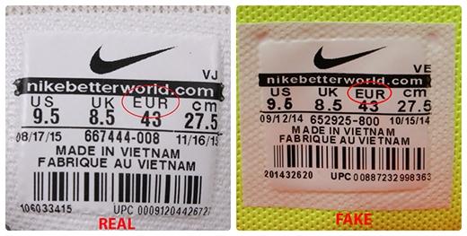 """Đa số các dòng """"EUR"""" trên tem giày đều cao hơn các chữ còn lại. (Ảnh: etasi.vn)"""