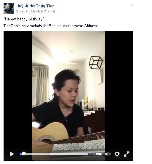 """Tiên Tiênvừa trình làng một siêu phẩm âm nhạc đặc biệt vời dòng chia sẻ rằng: """"Happy happy birthday. TienTien's new melody for English - Vietnamese - Chinese."""" - Tin sao Viet - Tin tuc sao Viet - Scandal sao Viet - Tin tuc cua Sao - Tin cua Sao"""