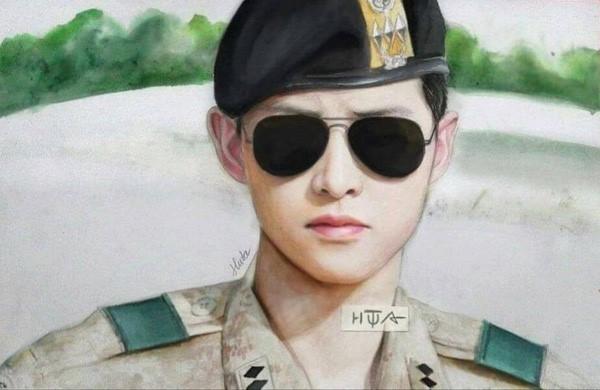 Đai uý điểm trai Hàn Quốc là nhân vật được giới trẻ Việt rất yêu thích. Tác phẩm này được vẽ trong 8 tiếng bằng màu Marco của thành viên Huta Chan. Đây là một trong những bức tranh được cộng mạng chia sẻ nhiều nhất. Ảnh: Huta Chan.