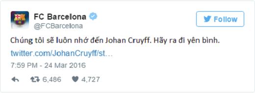 CLB Barca bày tỏ sự tưởng nhớ tới Johan. (Ảnh: Twitter)