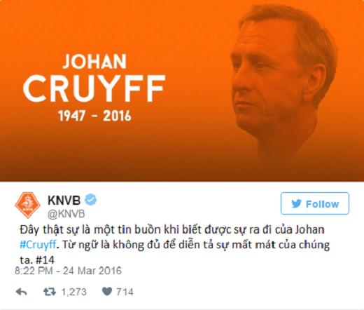 Liên đoàn bóng đá Hà Lan (KNVB) cho biết không có bất kì từ ngữ nào có thể diễn tả được nỗi buồn của NHM dành cho Johan Cruyff trước sự ra đi của ông. (Ảnh: Twitter)
