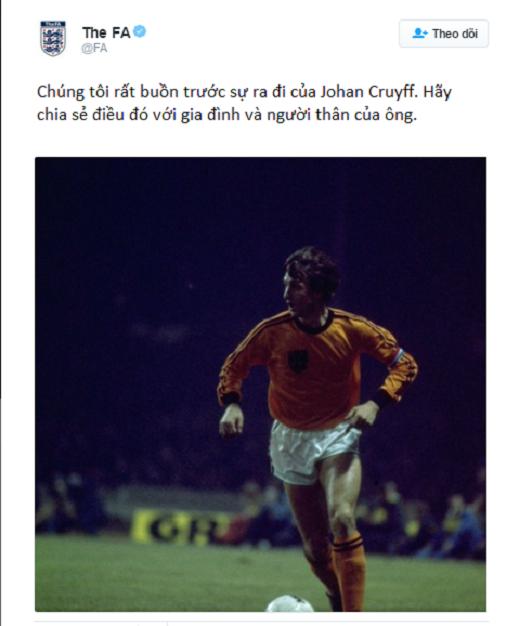 Hiệp hội bóng đá Anh cũng đã gửi lời chia buồn tới người thân và gia đình của huyền thoại Johan cùng với một bức ảnh một thời oai hùng của ông trong màu áo da cam đội tuyển Hà Lan. (Ảnh: Twitter)