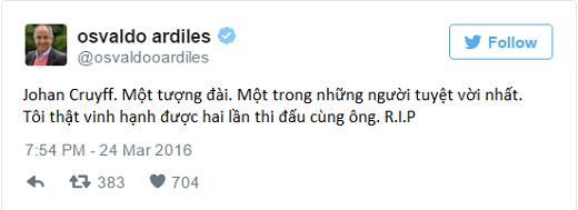 Osvaldo Ardiles, cựu tiền đạo Argentina bày tỏ nỗi buồn và lòng kính trọng tới huyền thoại Johan. (Ảnh: Twitter)