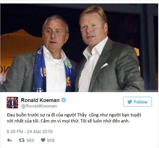 Ronald Koeman, HLV của Southampton là một trong những mảnh ghép của đội hình trong mơ tại Barcelona, đã miêu tả Johan như một người bạn tốt của mình. (Ảnh: Twitter)