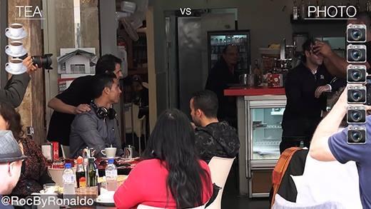 Ra ngoài uống cà phê, Cristiano Ronaldo đã phải chứng kiến điều này