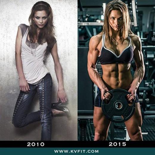 Kristina trước và sau khi tập gym