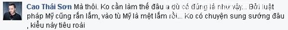 Đây là bình luận của Cao Thái Sơn trên trang mạng xã hội. - Tin sao Viet - Tin tuc sao Viet - Scandal sao Viet - Tin tuc cua Sao - Tin cua Sao