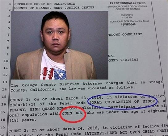 Đơn truy tố của tòa án quận Cam có ghi rõ nhân vật bị Minh Béo xâm hại là John Doe, dưới 18 tuổi. - Tin sao Viet - Tin tuc sao Viet - Scandal sao Viet - Tin tuc cua Sao - Tin cua Sao
