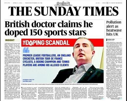 Bài báo trên tờ The Sunday Times gây sốc với bóng đá xứ sương mù. (Ảnh: chụp màn hình)