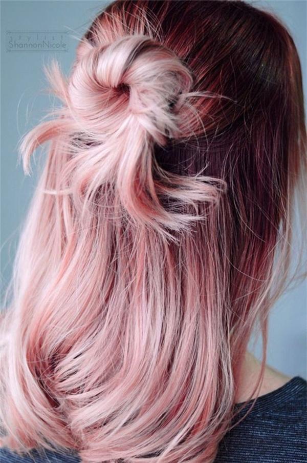 Bạn cũng có thể chỉ nhuộm hồng thạch anh thôi cũng đã đẹp rồi. (Ảnh: Shannon Nicole)