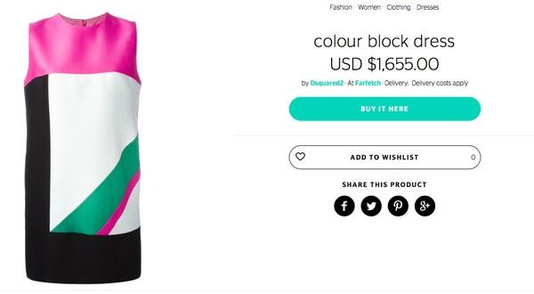 Mẫu váy được nhấn nhá bằng mảng màu hồng đậm bắt mắt này là một thiết kế của hang Dsquared2, với giá trên web khoảng 35 triệu đồng.