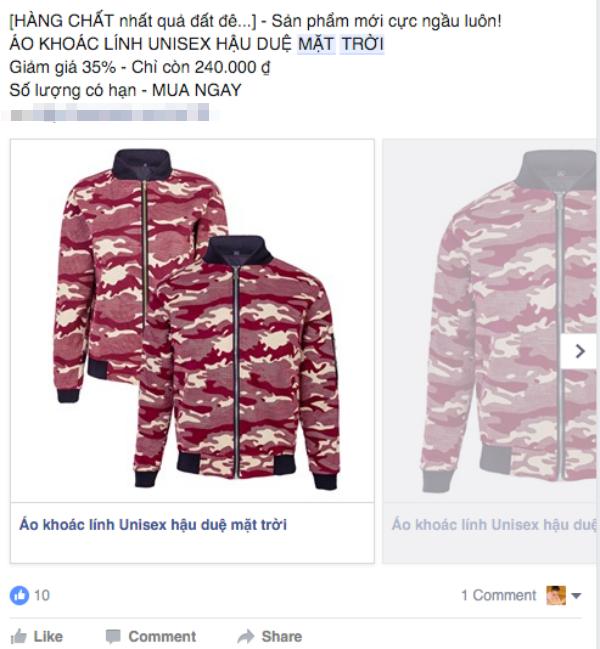 """Những chiếc áo khoác hoa văn lính cũng ăn theo """"Hậu duệ mặt trời"""". (Ảnh: Internet)"""