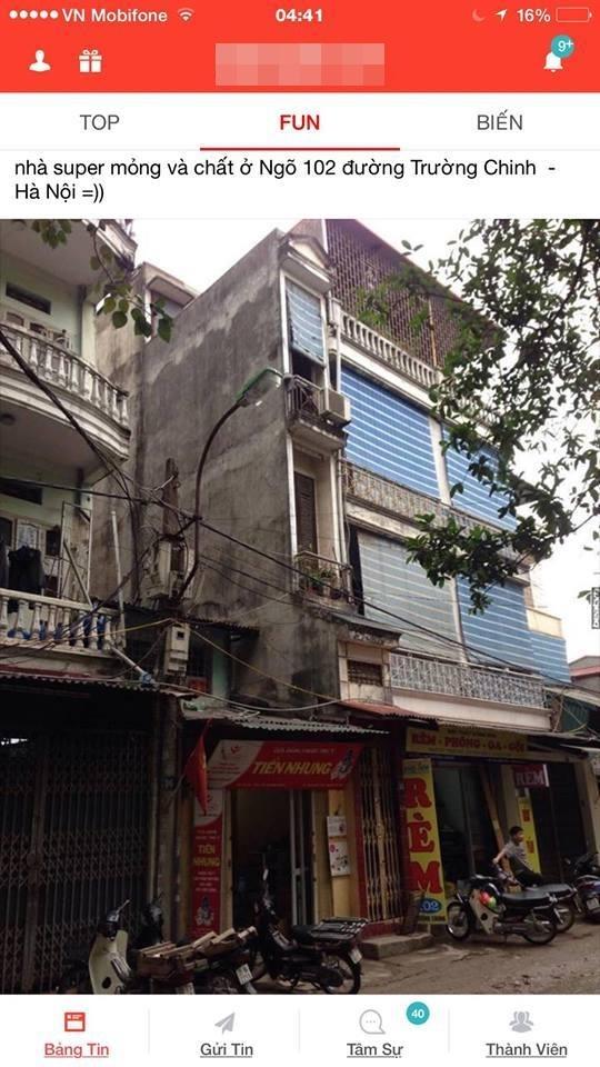 Ngôi nhà nằm ở ngõ 102, Trường Chinh, Hà Nội. (Ảnh: Internet)