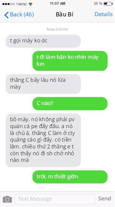 Tin nhắn của H và một người bạn có nick nameBầu Bí.
