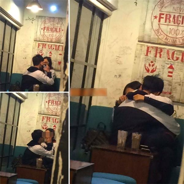 Một đôi trẻ âu yếm trong quán cafe khi còn đang mặc đồng phục học sinh.