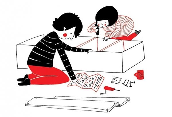 Đôi lúc có những cuối tuần không la cà quán xá mà ở nhà cùng nhau lắp ráp một chiếc tủ mới cho mái ấm của đôi mình. (Ảnh: Philippa Rice)