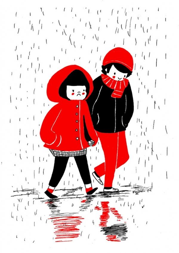 """Một ngày có """"mưa dầm mưa dề"""" đến đâu thì bàn tay người ấy vẫn luôn ấm áp siết chặt lấy bàn tay lạnh ngắt của ta. (Ảnh: Philippa Rice)"""