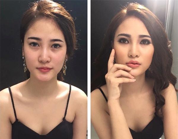 Cô gái này trông sang hơn hẳn khi chọn cho mình lối trang điểmđậm chất Thái bằng việc nhấn đậm vào phần mày và mắt. (Ảnh: Internet)