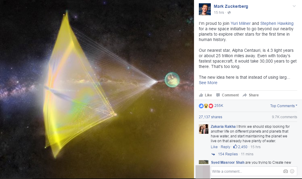Thông báo mới của Mark mở ra hi vọng mới cho loài người. (Ảnh: Chụp FB)