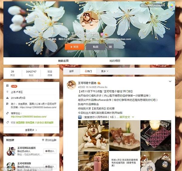 Trang cá nhân do anh Vương lập cho Coco có hơn 1,6 triệu người theo dõi. (Ảnh: Vương Tư Thông)
