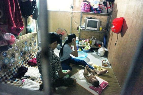Phòng riêng có giá từ 60.000 đến 80.000 đồng/ngày, càng ở tầng cao giá càng rẻ. Gia đình anh Hà (Tân Sơn, Phú Thọ) đã đến nhà trọ này ở được một tháng với giá thuê 60.000 đồng/ngày. Tất cả đồ đạc trong nhà như tivi, quạt, phích nước, bát đũa đều được chủ nhà cho mượn.