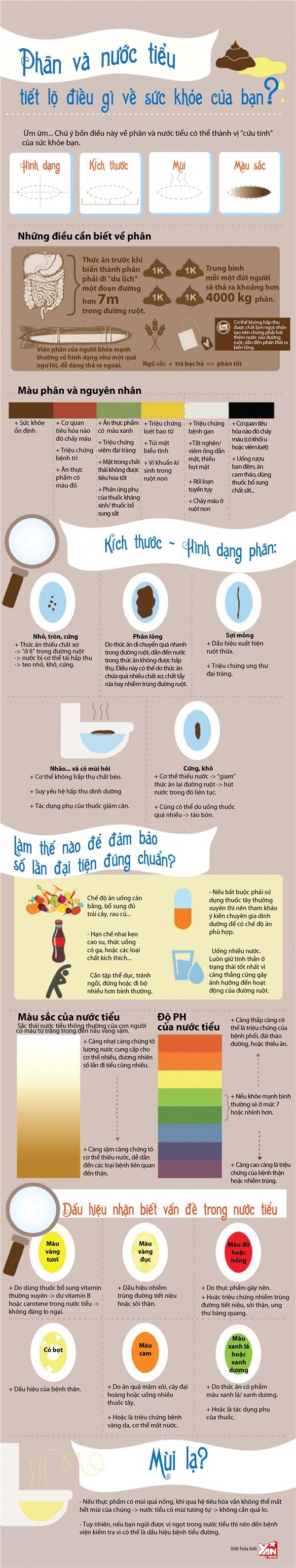 [Infographic] Nhìn phân và nước tiểu đoán biết bệnh trạng