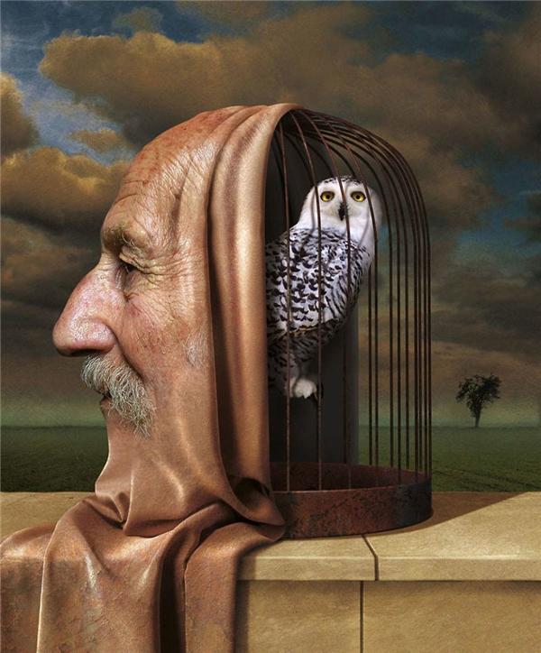 """Con người càng có tuổi thì càng nhiều kinh nghiệm, càng thông thái, nhưng thế hệ trẻ dường như không cần đến cái sự """"dạy khôn"""" của người lớn nên bao nhiêu kiến thức ấy chỉ có thể bị nhốt lại trong lồng mà thôi. (Ảnh: Igor Morski)"""