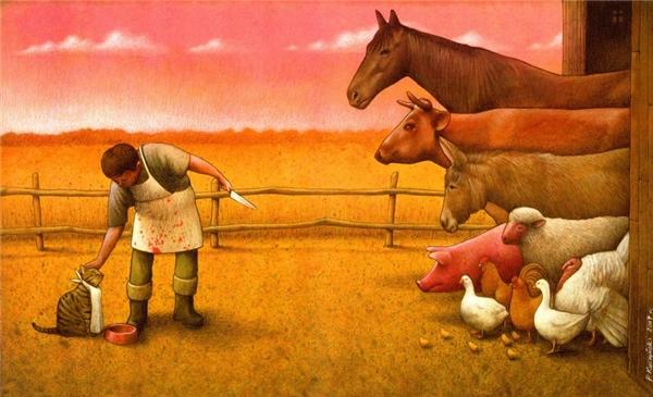 Cùng là động vật, những số phận của mỗi loài hoàn toàn khác nhau. Con người cư xử tốt với vật nuôi nhưng lại giết và ăn thịt những loài khác.(Ảnh: Internet)