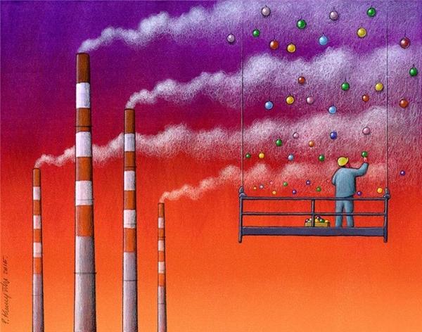 Bức tranh phê phán việc gây ô nhiễm môi trường.(Ảnh: Internet)