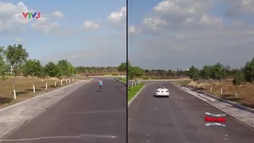 Choáng với cuộc đua không tưởng giữa người và xe ô tô