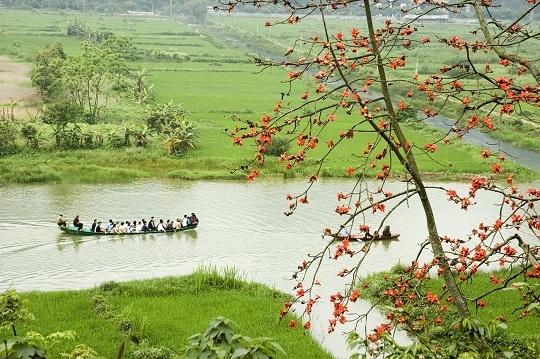 Ngồi trên chiếc thuyền nhỏ, ngắm nhìn sông nước và những chùm hoa đỏ rực rỡ tại chùaHương.(Ảnh: Internet)