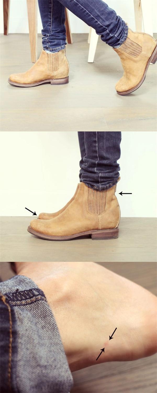 Đầu tiên phải tìm điểm ma sát giữa giày và chân bằng cách mang giày vào rồi đi lại quanh phòng. Trong khi đó cần để ý xem những nơi nào giày cọ mạnh vào da vì đó là nơi sẽ hình thành các vết phồng rộp. (Ảnh: instructables)