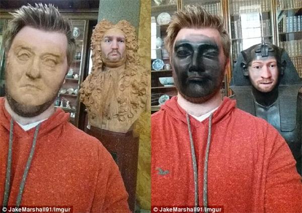 Jake thử tráo mặt với rất nhiều tượng bán thân trong bảo tàng. (Ảnh: Jake Marshall)