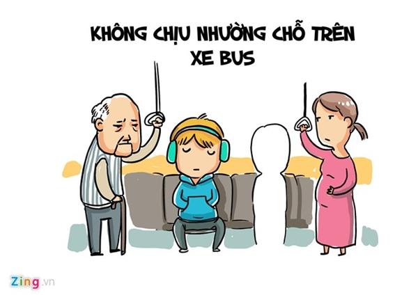 Không còn gì xấu mặt hơn khi nam thanh, nữ tú quyết không nhường chỗ trên xe buýt cho người già, phụ nữ mang thai, trẻ nhỏ.