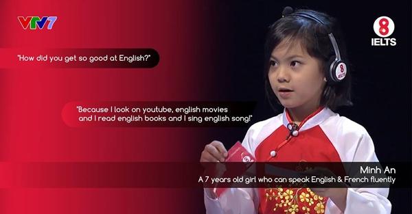 Minh An tự tin trả lời trên sóng truyền hình. (Ảnh: NVCC)