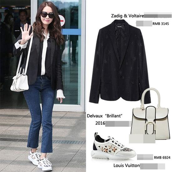 Trong một bộ trang phục khác, Yoona lại mang đến hình ảnh thanh lịch hơn với áo vest kết hợp sơ mi bên trong, quần jeans cổ điển và giày thể thao cá tính, năng động. Riêng giày sneaker và áo khoác đã có giá lên đến 35 triệu đồng và thuộc về 2 thương hiệu lớn: Zadig & Voltaire, Louis Vuitton.