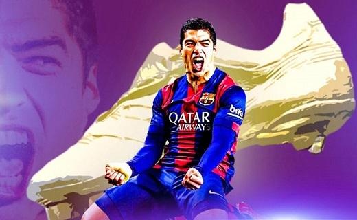Luis Suarez là ứng viên số một cho danh hiệu giày vàng châu Âu. Ảnh:Sky Sports.