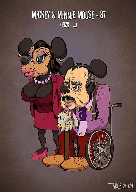 """Mickey trở thành ông trùm của giới hoạt hình và trở thành cặp đôi quyền lực nhất cùng với Minnie. Có vẻ Minnie hơi lạm dụng """"phẫu thuật thẩm mĩ"""" để níu kéo tuổi thanh xuân.(Ảnh: tarusov.com)"""