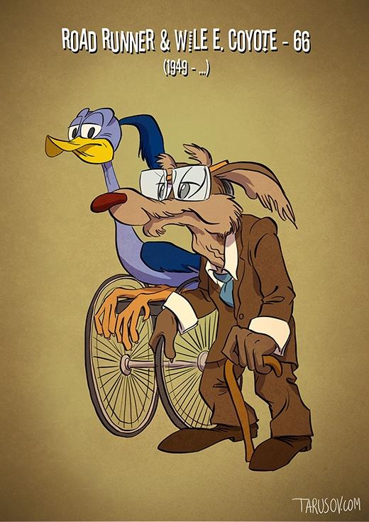 Cặp đôi Road Runner và Wile E. Coyote chắc giờ chỉ cỏ thể rượt nhau bằng ... xe lăn thôi!(Ảnh: tarusov.com)